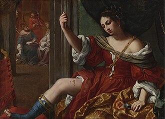 Porcia (wife of Brutus) - Image: Elisabetta Sirani Portia wounding her thigh