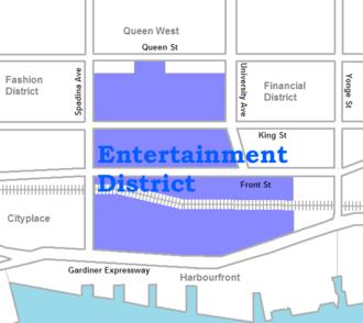 Toronto Entertainment District - Image: Entertainment District map
