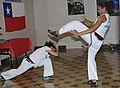 Erica Anthony, left, and Tellecia Brown give a Capoeira demonstration to U.S. Soldiers assigned to U.S. Army South during a Hispanic Heritage Month Celebration in San Antonio, Texas, Oct. 13, 2011 111013-A-GG454-010.jpg