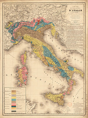 Geological map of Italy, 1844