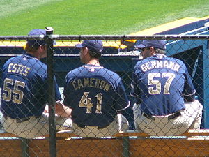 Shawn Estes - Estes (left) with fellow Padres pitchers Kevin Cameron and Justin Germano, in 2008.