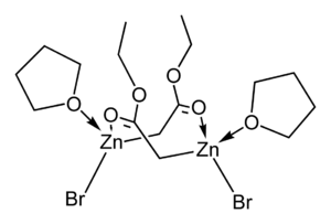 Reformatsky reaction - Image: Ethyl bromozincacetate THF dimer from xtal 2D skeletal D