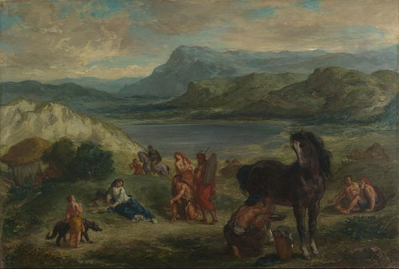 Delacroix, Ovid among the Scythians, 1859. National Gallery (London). Eugene Delacroix - Ovide chez les Scythes (1859).jpg