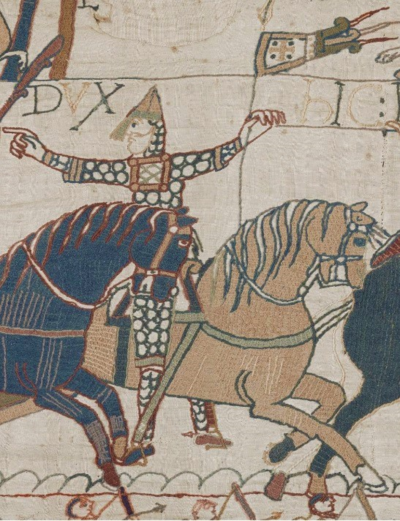 Eustace II, Count of Boulogne, as shown on the Bayeux Tapestry. Eustache de Boulogne-Bayeux.png