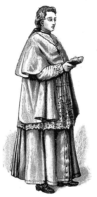 Mantelletta - A cardinal wearing a cassock, rochet, a mantelletta and a mozzetta