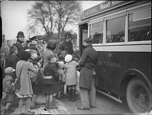 Evacuations of civilians in Britain during World War II - Evacuees from Bristol boarding a bus at Kingsbridge in Devon en route to their billets in 1940