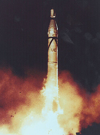 Space research - The first US satellite was the Explorer 1, seen here launching, 1st February 1958