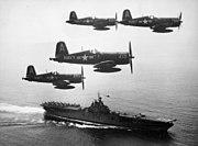 F4U-4 Corsairs of VF-884 return to USS Boxer (CV-21) off Korea on 4 September 1951 (520804)
