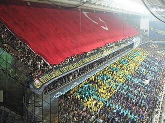 Fenerbahçe S.K. supporters - Turkish flag on Maraton stand