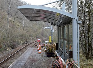 Falls of Cruachan railway station - The shelter at the Falls of Cruachan station.