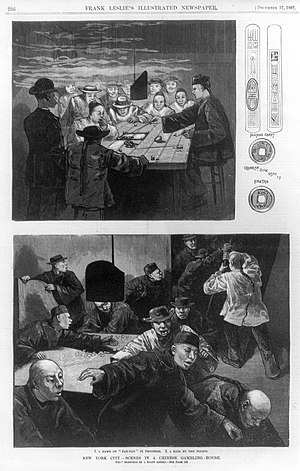 Fan-Tan - A page from Frank Leslie's Illustrated Newspaper depicting a fan-tan parlor in New York, a raid by the police, and cards and coins used in fan-tan, in December 1887.