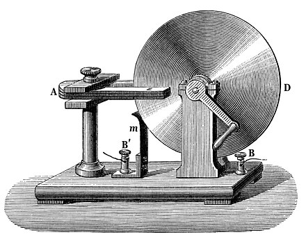 Built in 1831, the Faraday disk was the first electric generator. The horseshoe-shaped magnet (A) created a magnetic field through the disk (D). When the disk was turned, this induced an electric current radially outward from the center toward the rim. The current flowed out through the sliding spring contact m, through the external circuit, and back into the center of the disk through the axle. Faraday disk generator.jpg