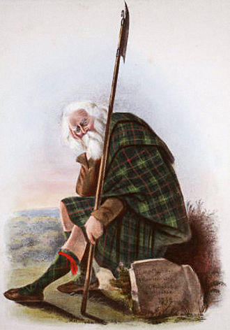 Clan Farquharson - A romantic depiction of a clansman illustrated by R. R. McIan, from James Logan's The Clans of the Scottish Highlands, 1845.