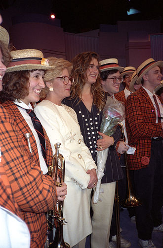 Brooke Shields - Shields with the Princeton University Band for a taping of Sally Jessy Raphael's show in Feb 1991