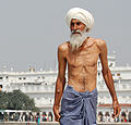 File-Sikh pilgrim at the Golden Temple (Harmandir Sahib) in Amritsar, India cropped (man).jpg