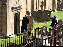 Filming the Father Brown series in Blockley Churchyard.JPG