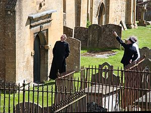 Mark Williams (actor) - Image: Filming the Father Brown series in Blockley Churchyard