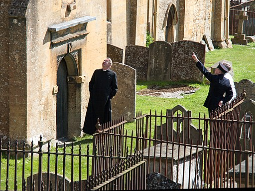 Filming the Father Brown series in Blockley Churchyard