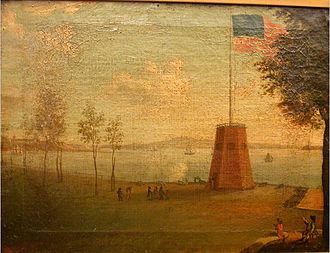 "Evacuation Day (New York) - Painting of flagstaff and ""churn"" at the Battery."