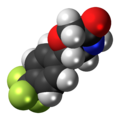 Flumetramide molecule spacefill.png