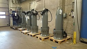 Xylem Inc. - A selection of Flygt submersible propeller pumps in Xylems factory in Emmaboda