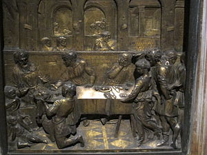 The Feast of Herod (Donatello) - Donatello's Feast of Herod (1423-1427), baptismal font, Battistero di San Giovanni (Siena)