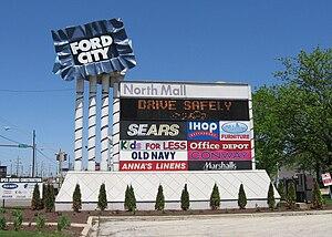 Ford City Mall - Entrance sign along Cicero Avenue.