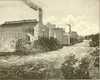 Paper mill - A mid-19th century paper mill, the Forest Fibre Company, in Berlin, New Hampshire