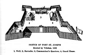 Fort Nashwaak - Image: Fort St Joseph Acadia 1692