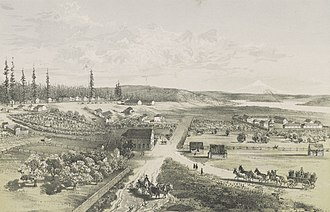 Fort Vancouver National Historic Site - Illustration of Fort Vancouver and its environs in 1855