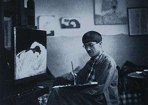 Tsuguharu Foujita - Tsuguharu Foujita in his studio