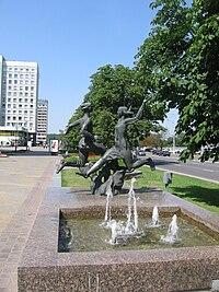 Fountains in Pobeditelej.JPG