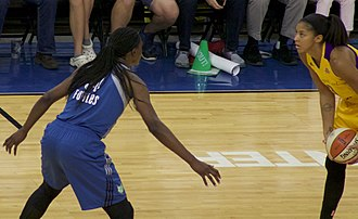 "Sylvia Fowles - Fowles guarding Candace Parker in 2016. The New York Times says Fowles has ""great agility and a spacious wingspan."""