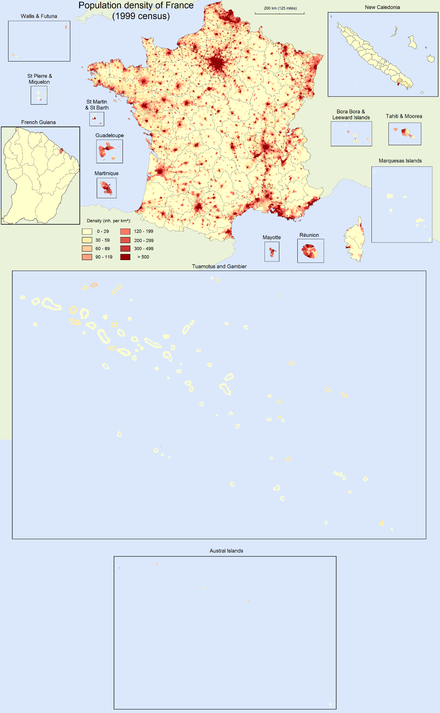 Population density in the French Republic at the 1999 census. France population density 40pc.png