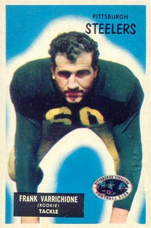 Frank Varrichione - The young and athletic Varrichione as a rookie in 1955, wearing Notre Dame green.