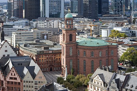 St. Paul's Square with St. Paul's Church in Frankfurt on the Main as seen from the spire of Frankfurt Cathedral