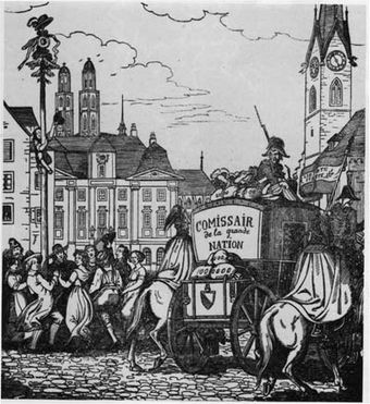 In this caricature about the Helvetic Republic in Zurich 8 May 1798. People from Zurich dance around a tree as a symbol for freedom and revolution while French troops carry away the treasure of the overthrown City-State of Zurich. As an officer in the Habsburg army, Hotze lost his Swiss citizenship after the Swiss Revolution. Franzosen Staatsschatz.jpg