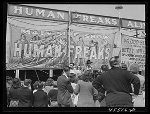 Freak show - A freak show in Rutland, Vermont in 1941