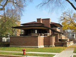 Robie House U.S. National Historic Landmark in Chicago, designed by Frank Lloyd Wright