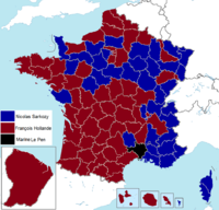 French presidential election (1. round) results (including overseas) by departament, 2012.png