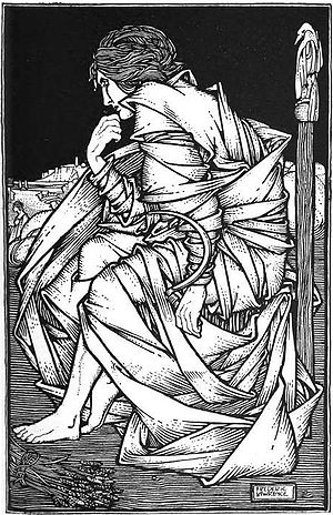 Freyr - Seated on Odin's throne Hliðskjálf, the god Freyr sits in contemplation in an illustration (1908) by Frederic Lawrence