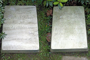Friedrich Krupp - Gravestones of Friedrich Krupp and wife Therese Johane Helene Wilhelmi at Essen's Friedhof Bredeney