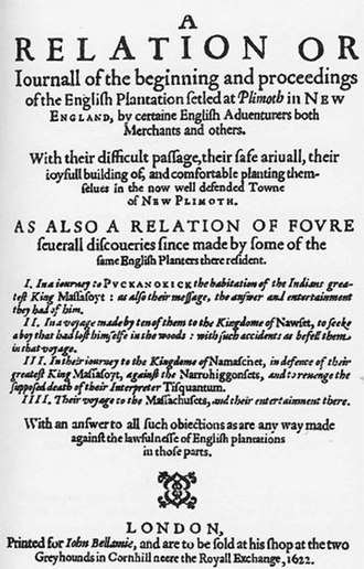 Mourt's Relation - Frontispiece, Mourt's Relation, published in London, 1622