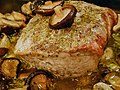 Fusion of traditional dishes, Tuscan roasted pork (arista) with Shiitake mushrooms.jpg