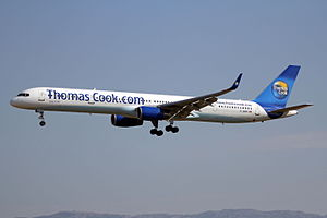 Narrow-body aircraft - Image: G JMAB 5 B757 3CQW Thos Cook Al PMI 26MAY12 (7273591050)