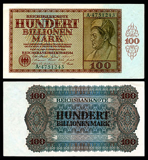 German Papiermark - Image: GER 140 Reichsbanknote 100 Trillion Mark (1924)