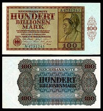 German Papiermark - Image: GER 140 Reichsbanknote 100 Trillion Mark (1924)