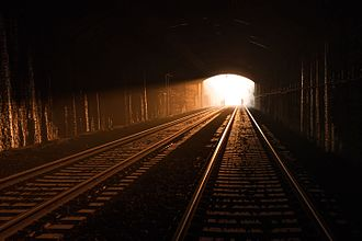Box Tunnel - The sun rises in alignment to the entrance to Box Tunnel, Bath, UK on 9 April 2017