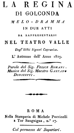 Gaetano Donizetti - Alina, regina di Golconda - titlepage of the libretto, Rome 1829.png