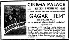 A black-and-white advertisement; at the left side is a small picture